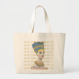 Gorgeous design of Nefertiti and tiled Cartouche Large Tote Bag