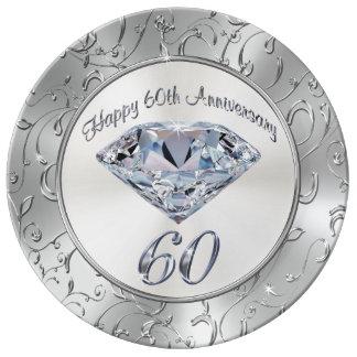 Gorgeous Diamond 60th Anniversary Plates