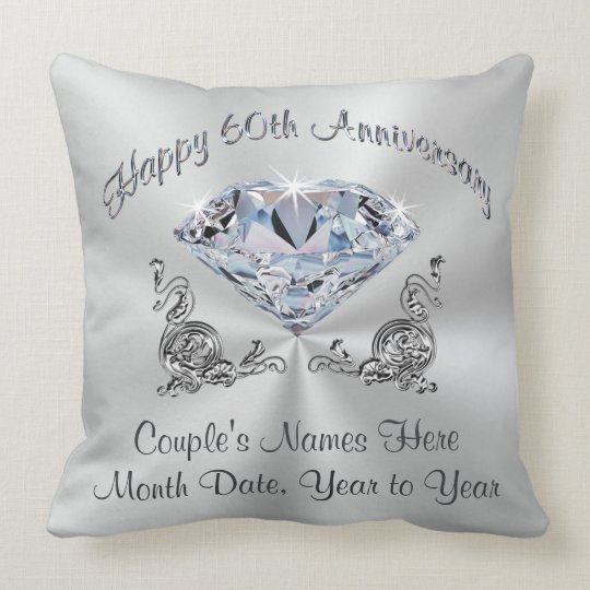 Gorgeous Diamond Anniversary Pillow, PERSONALIZED Throw Pillow