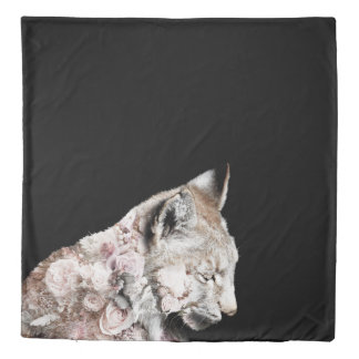 Gorgeous Double Exposure Lynx Rose Portrait Duvet Cover