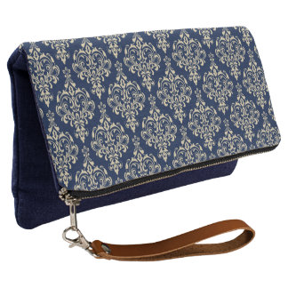 Gorgeous Elegant Damask Pattern On Chic Blue Clutch