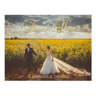 Gorgeous Elegant Gold Heart Thank You Wedding Postcard