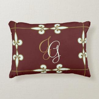 Gorgeous floral art nouveau vintage monogram decorative pillow