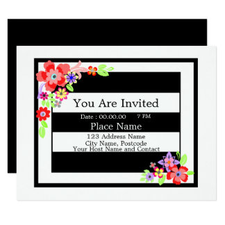 """Gorgeous Floral Design"" Invitation Card."