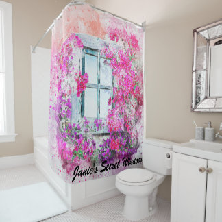 Gorgeous Floral Window Watercolor Shower Curtain