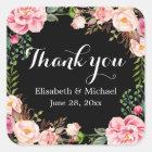 Gorgeous Floral Wreath Wrap Thank You Square Sticker