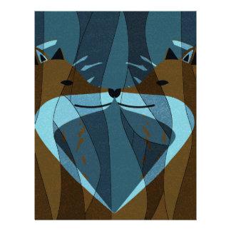 Gorgeous Foxes Kiss Design Letterhead