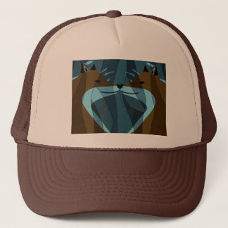 Gorgeous Foxes Kiss Design Trucker Hat