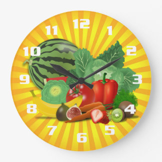 Gorgeous Fruit and Vegetable Kitchen Large Clock