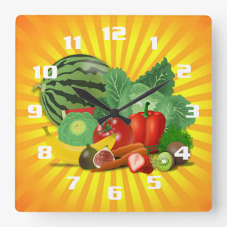 Gorgeous Fruit and Vegetable Kitchen Square Wall Clock