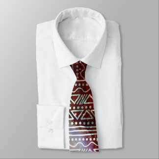 Gorgeous Galaxy Tribal Geometric Red Pattern Tie