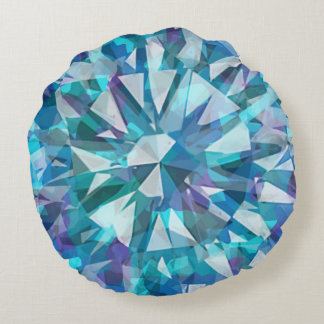 Gorgeous Gem with Blues and Purples Round Pillow