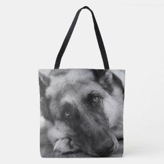 Gorgeous German Shepherd Black & White Tote Bag