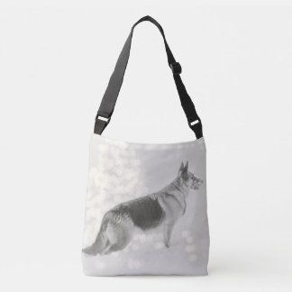 Gorgeous German Shepherd in the Snow Crossbody Bag
