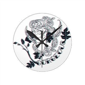 Gorgeous girl round clock