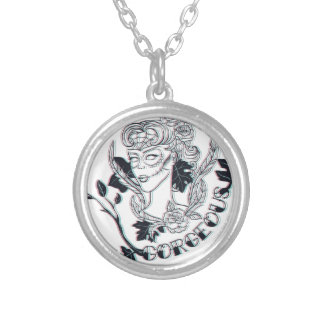 Gorgeous girl silver plated necklace
