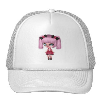 Gorgeous Girly Goth Doll with Pink Hair Trucker Hat