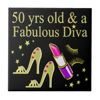 GORGEOUS GOLD 50TH BIRTHDAY DIVA DESIGN CERAMIC TILES