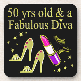 GORGEOUS GOLD 50TH BIRTHDAY DIVA DESIGN COASTER