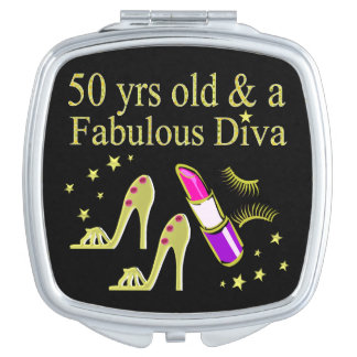 GORGEOUS GOLD 50TH BIRTHDAY DIVA DESIGN MIRRORS FOR MAKEUP