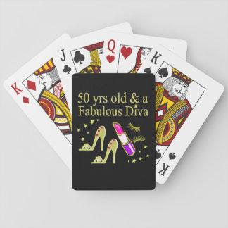 GORGEOUS GOLD 50TH BIRTHDAY DIVA DESIGN POKER DECK