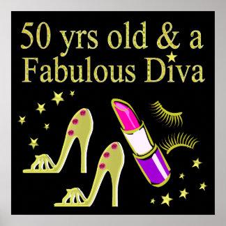 GORGEOUS GOLD 50TH BIRTHDAY DIVA DESIGN POSTER