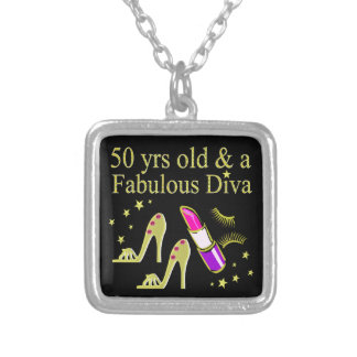 GORGEOUS GOLD 50TH BIRTHDAY DIVA DESIGN SILVER PLATED NECKLACE