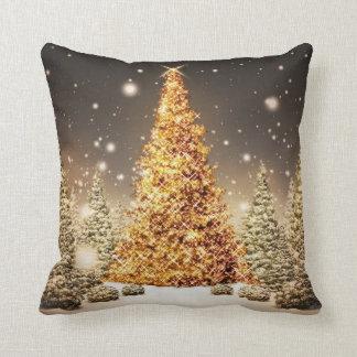 Gorgeous Gold Christmas Tree Throw Pillow