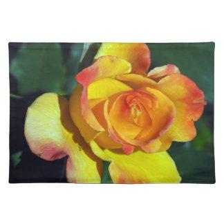 Gorgeous Golden Glowing Rose Place-mats Place Mats