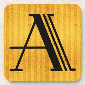 "Gorgeous Golden Monogram Coaster, Letter ""A"" Coaster"