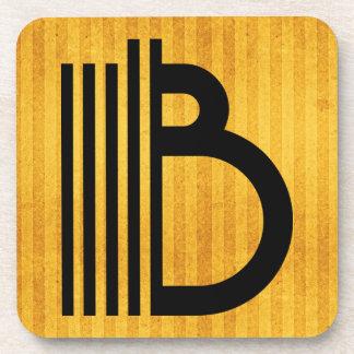 "Gorgeous Golden Monogram Coaster, Letter ""B"" Coaster"