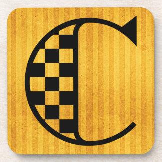 "Gorgeous Golden Monogram Coaster, Letter ""C"" Coaster"