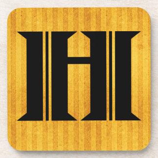 "Gorgeous Golden Monogram Coaster, Letter ""H"" Coaster"