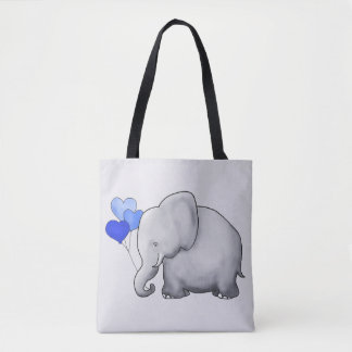 Gorgeous Gray Baby Elephant with Blue Balloons Tote Bag