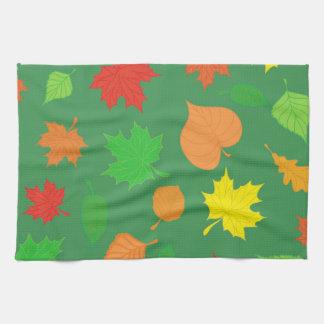 Gorgeous Green Autumn Leaves Kitchen Towel