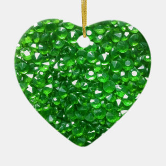 Gorgeous Green Crystals Ceramic Heart Ornament