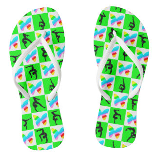 GORGEOUS GREEN GYMNASTICS BUTTERFLY LOVE FLIP FLOP FLIP FLOPS