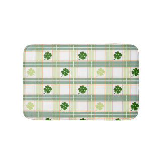 Gorgeous Green Shamrock Plaid Bath Mat