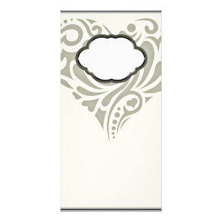 Gorgeous Greenish floral heart Photo Card Template