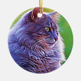 Gorgeous Grey Cat Double-Sided Ceramic Round Christmas Ornament