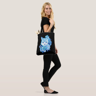 Gorgeous Hand Drawn 10 Blue Shades Cat Tote Bag