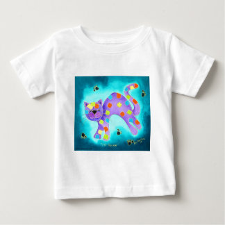 Gorgeous Happy Aqua Cat with light blue background Baby T-Shirt