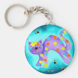 Gorgeous Happy Aqua Cat with light blue background Basic Round Button Keychain