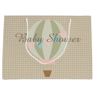 Gorgeous Hot Air Balloon Neutral Baby Shower Large Gift Bag