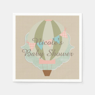 Gorgeous Hot Air Balloon Neutral Baby Shower Paper Napkin