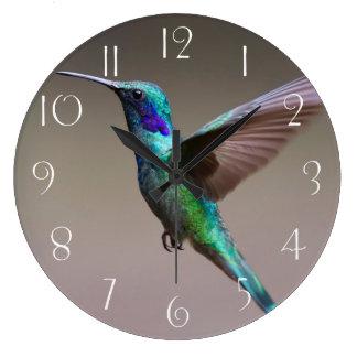 Gorgeous hummingbird in flight large clock