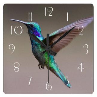 Gorgeous hummingbird in flight square wall clock