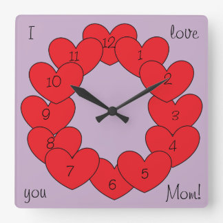 Gorgeous I love you Personalized Red Hearts Clocks