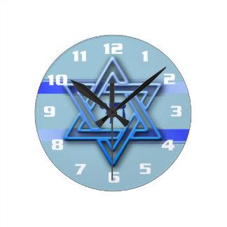Gorgeous Jewish Star of David Blue and White Round Clock