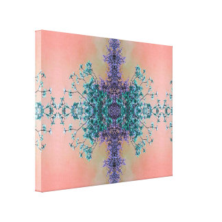 Gorgeous Lavender Teal Blush Artistic Blossoms Canvas Print